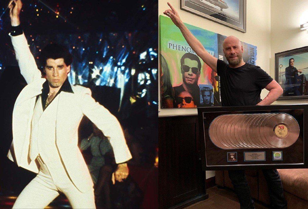 約翰屈伏塔超過40年再度擺出「週末的狂熱」經典舞姿,資深影迷無限感慨。圖/摘自i...
