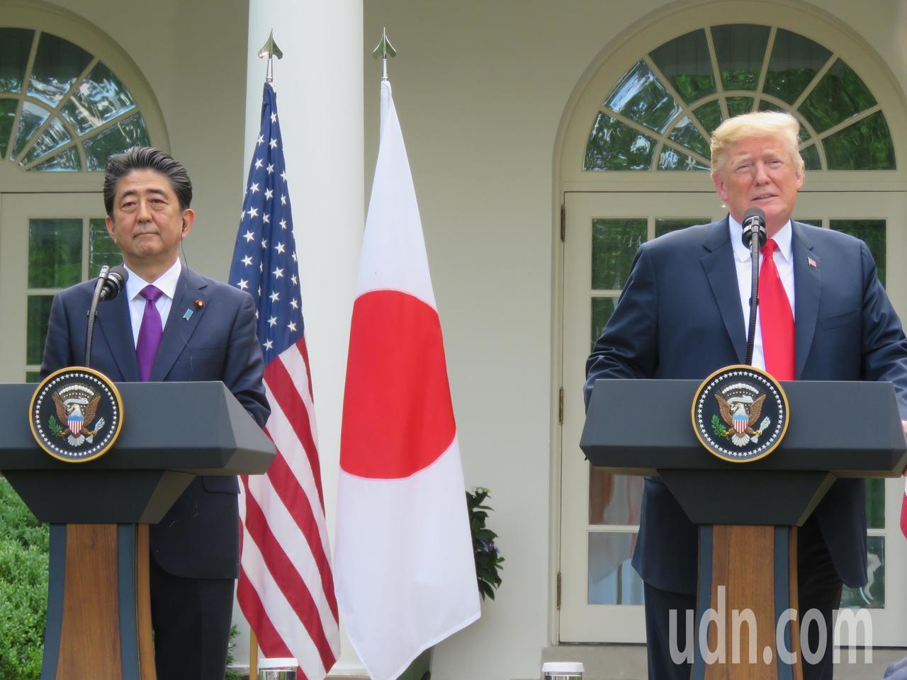美國總統川普(右)與日本首相安倍晉三。本報資料照片