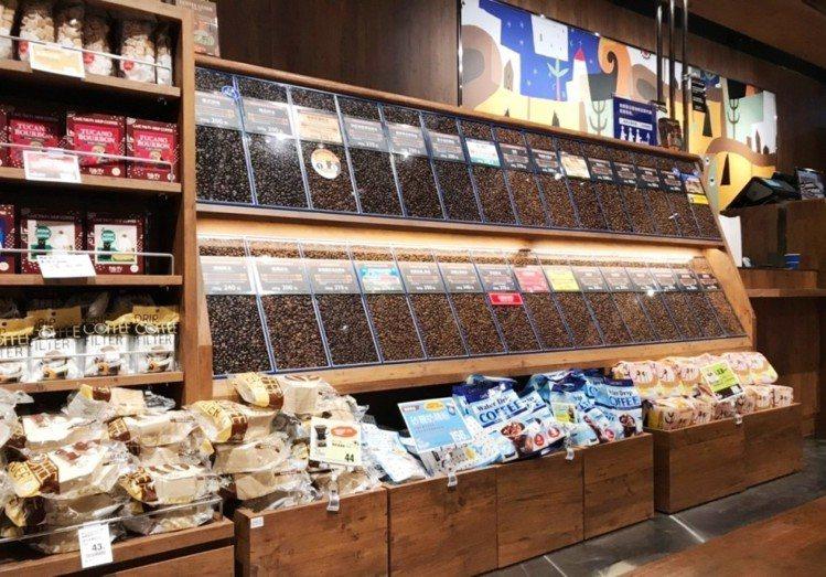 超過30種以上精選獨家烘焙咖啡豆。圖/Global Mall提供