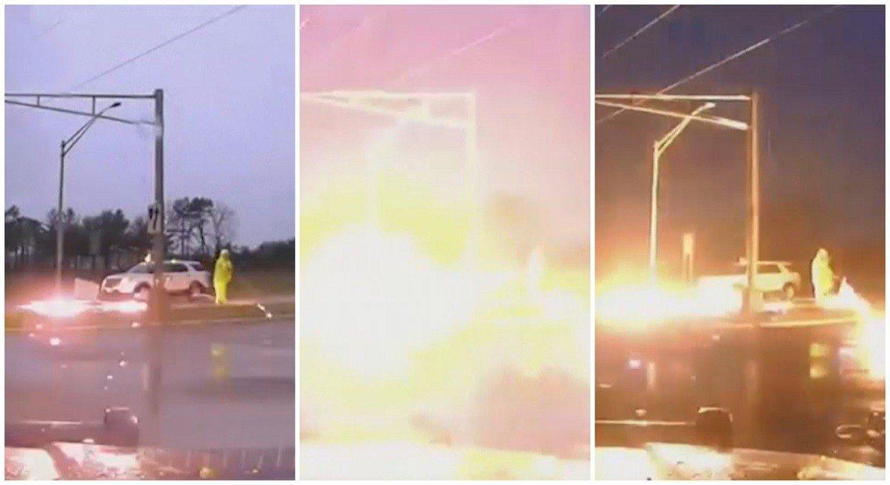 美國新澤西州曼徹斯特(Manchester, NJ)日前電力公司工程人員檢修掉落...