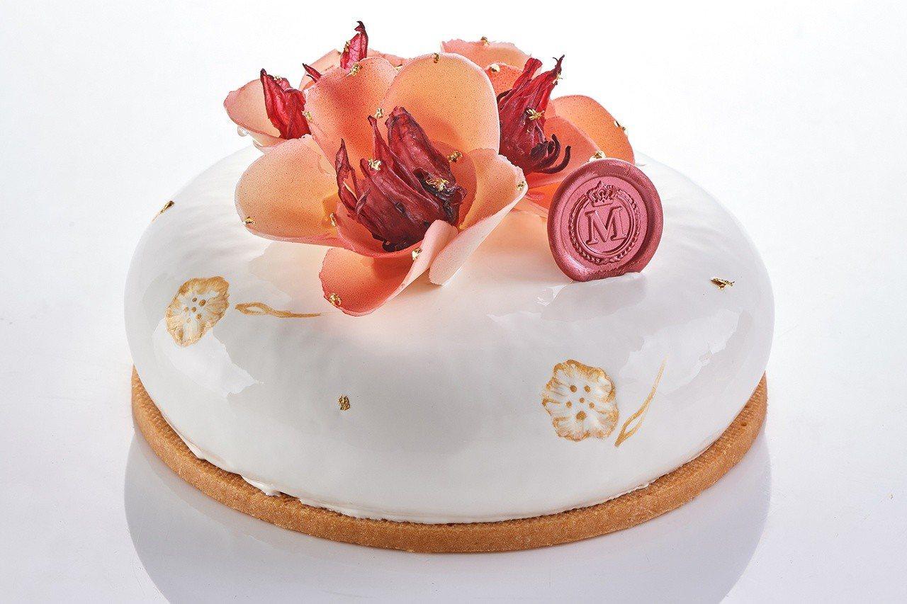 台灣洛神也添進蛋糕味,台北美福大飯店的母親節蛋糕「洛神珍愛」。圖/台北美福飯店提...