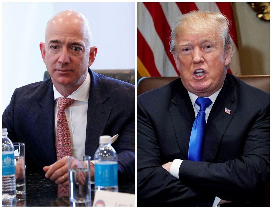 華盛頓郵報老闆兼亞馬遜執行長貝佐斯(左)是美國總統川普經常批評的對象,如今亞馬遜...