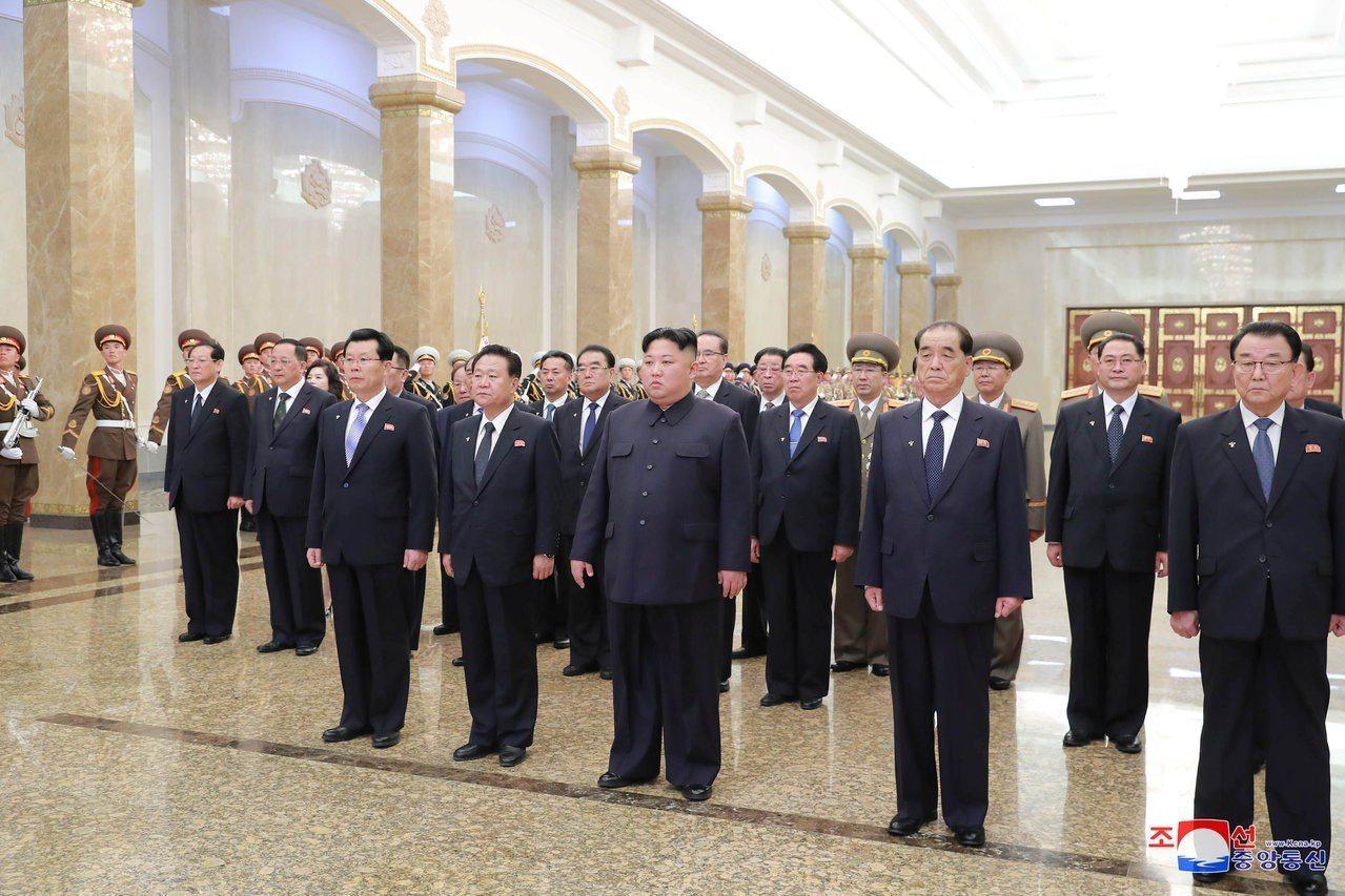 金正恩在15日太陽節當天率北韓黨政軍領導人前往錦繡山太陽宮參謁。路透