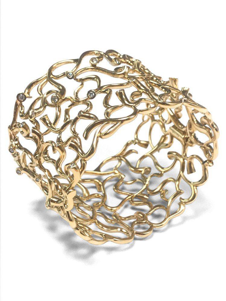 GEORG JENSEN巡迴珠寶MAGIC系列18K黃金鑽石手鐲,59萬5,00...