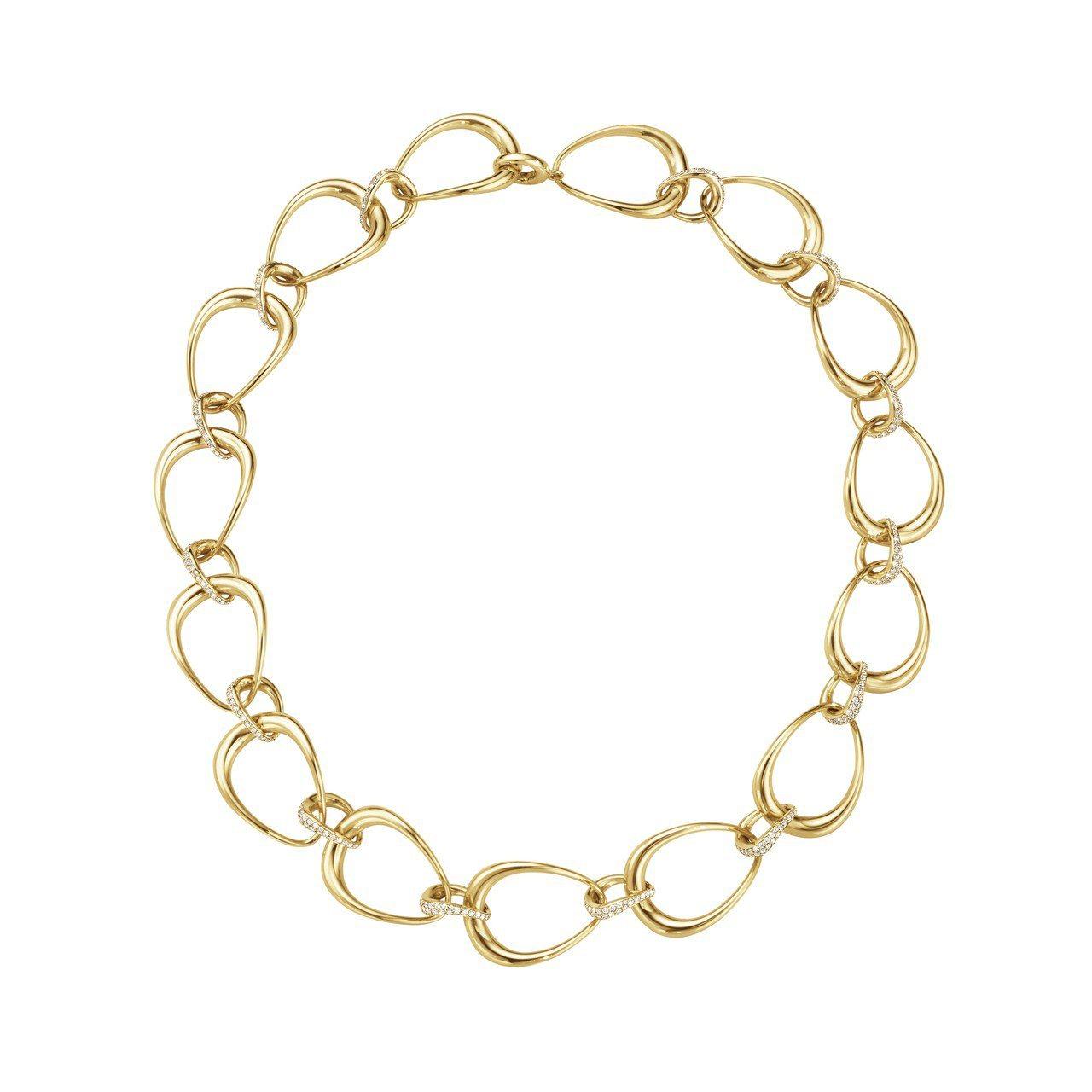 GEORG JENSEN巡迴珠寶OFFSPRING系列18K黃金鋪砌式鑲工美鑽項...