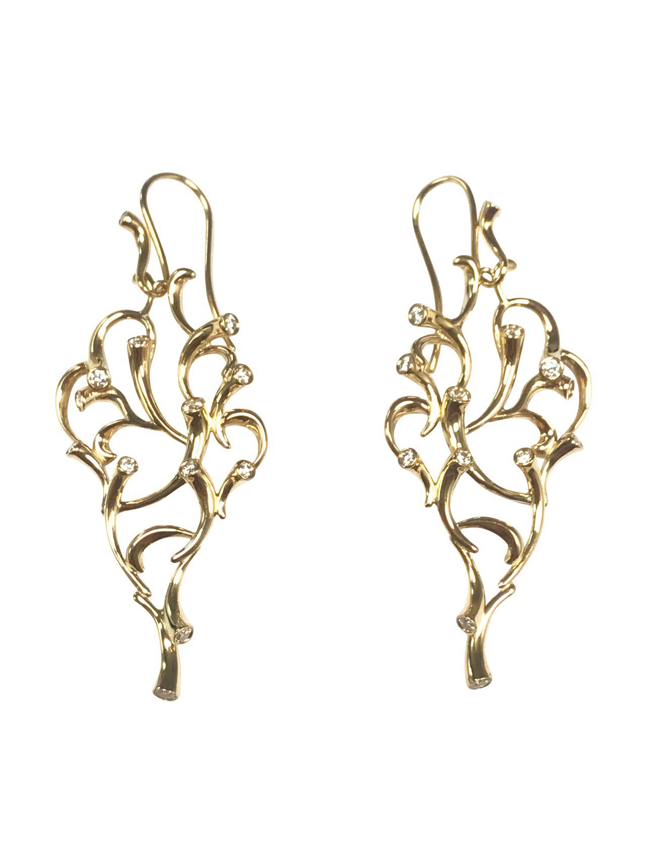 GEORG JENSEN巡迴珠寶MAGIC系列18K黃金鑽石耳環,15萬7,00...
