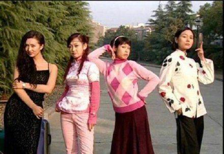 陳好(左一)曾與劉若英(右二)搭檔拍戲。圖/摘自微博