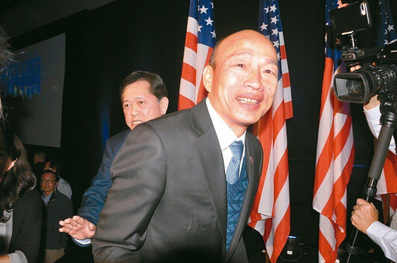 高雄市長韓國瑜的「國防靠美國」遭陸方強烈抵觸。 圖/聯合報系資料照片