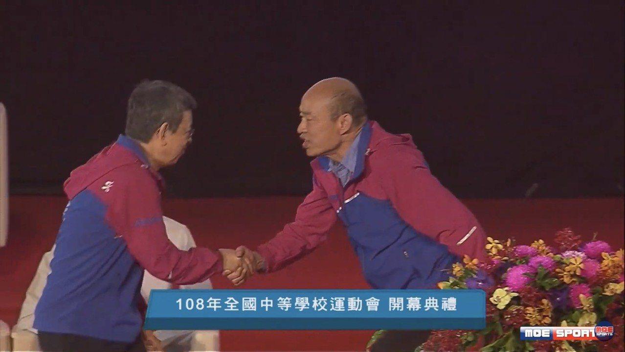 韓國瑜(左)與副總統陳建仁。 全中運提供