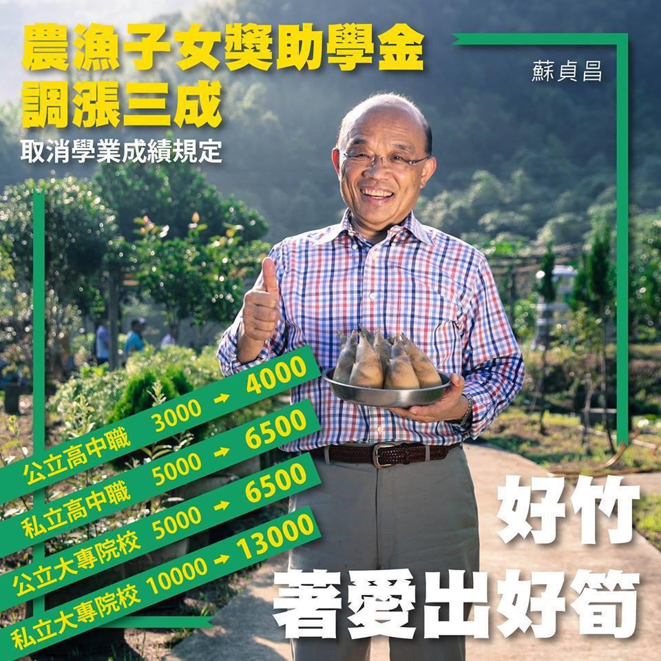 行政院長蘇貞昌今天在臉書表示,政府決定將「農漁子女獎助學金」增加三成,也刪除原本...