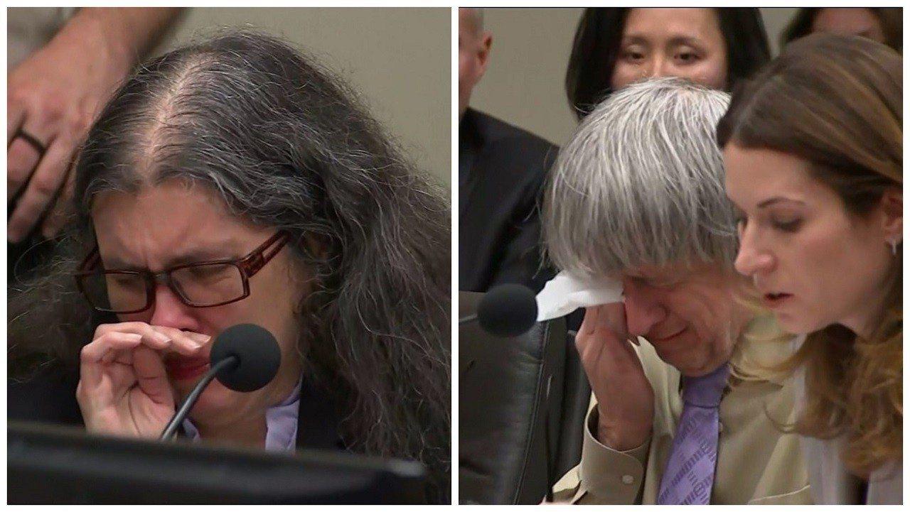 美國加州「恐怖屋」事件主角露易絲.特爾賓(左)與大衛.特爾賓(右)19日被判無期...