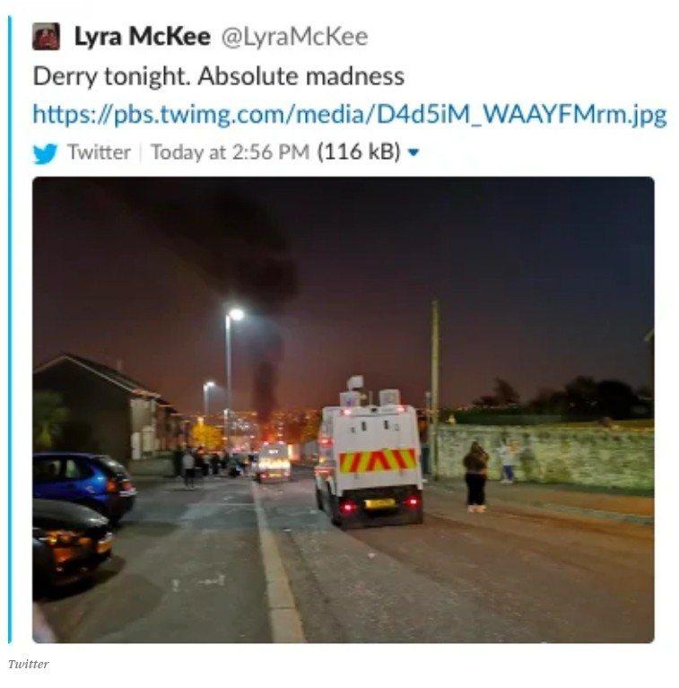 女記者麥奇在採訪北愛18日晚間暴動時發出的推文,寫著「德利今晚,完全狂亂」,不久...