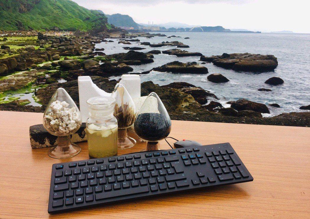 現場並首次對外曝光由海廢保麗龍回收、再製而成的創新電子產品電腦鑑鍵盤,展現光寶綠...