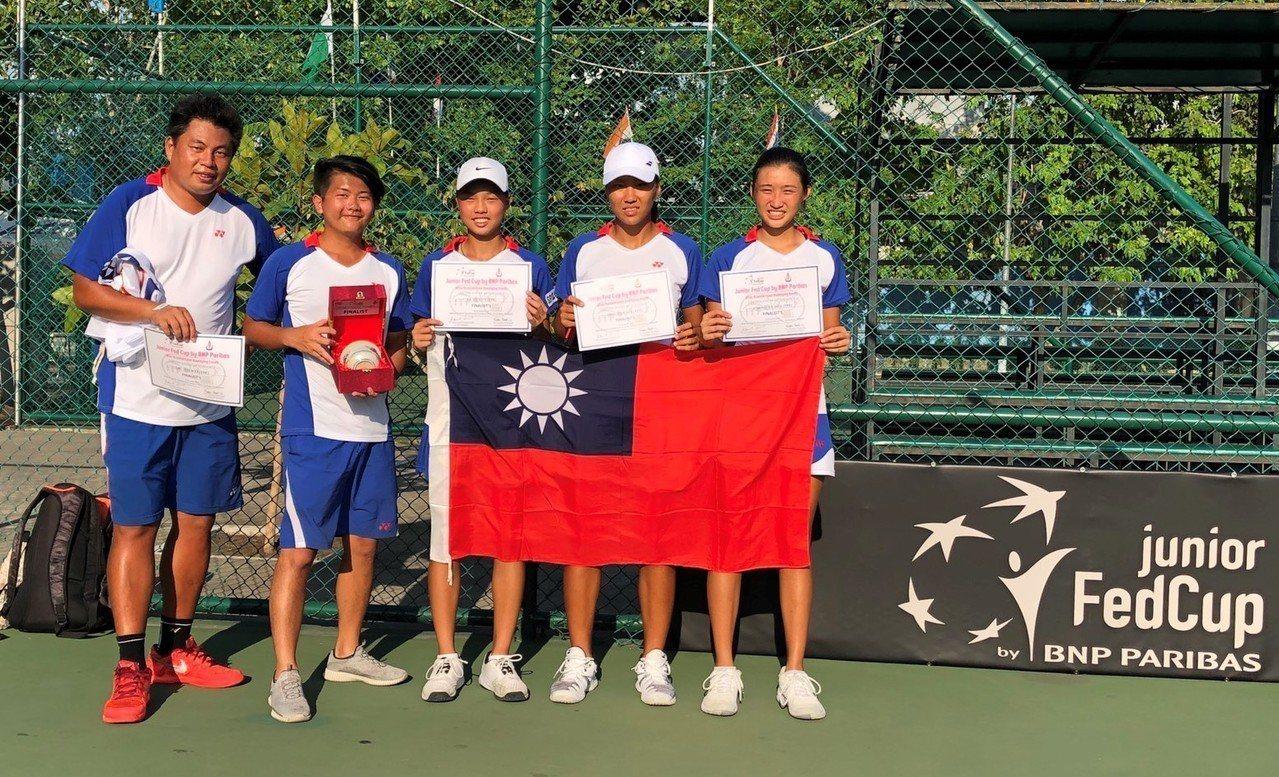 獲得亞軍的中華隊拿著獎盃和獎狀和國旗合影。圖/矽品精密提供