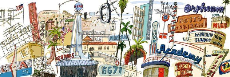 藝術家Javier Mariscal創作的洛杉磯旅遊繪本內頁。圖/LV提供