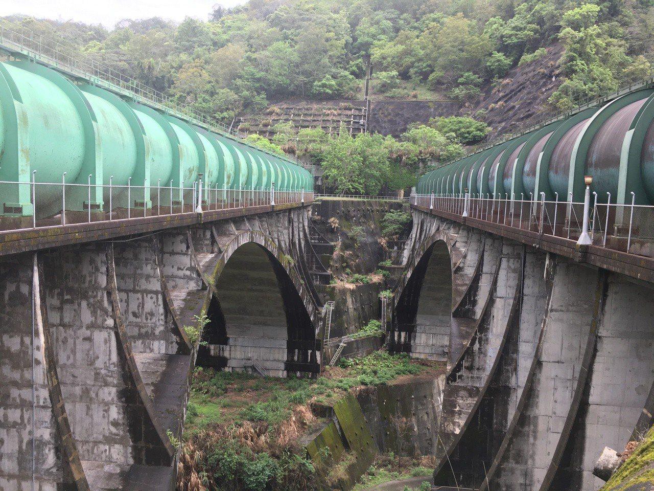 日月潭上池,明潭為下池,上下池之間興建隧道連接。圖為日月潭和明潭之間連通隧道,跨...