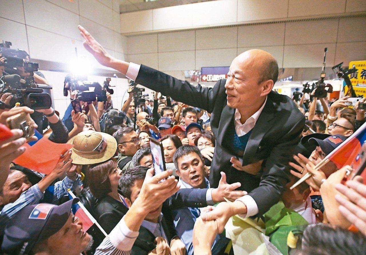 日前高雄市長韓國瑜(中)結束訪美返台,上百民眾接機,將他高高抬起接受歡呼,並高喊...