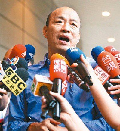 高雄市長韓國瑜訪美時說台灣沒有軍法,「就像太監穿西裝」。 記者劉學聖/攝影