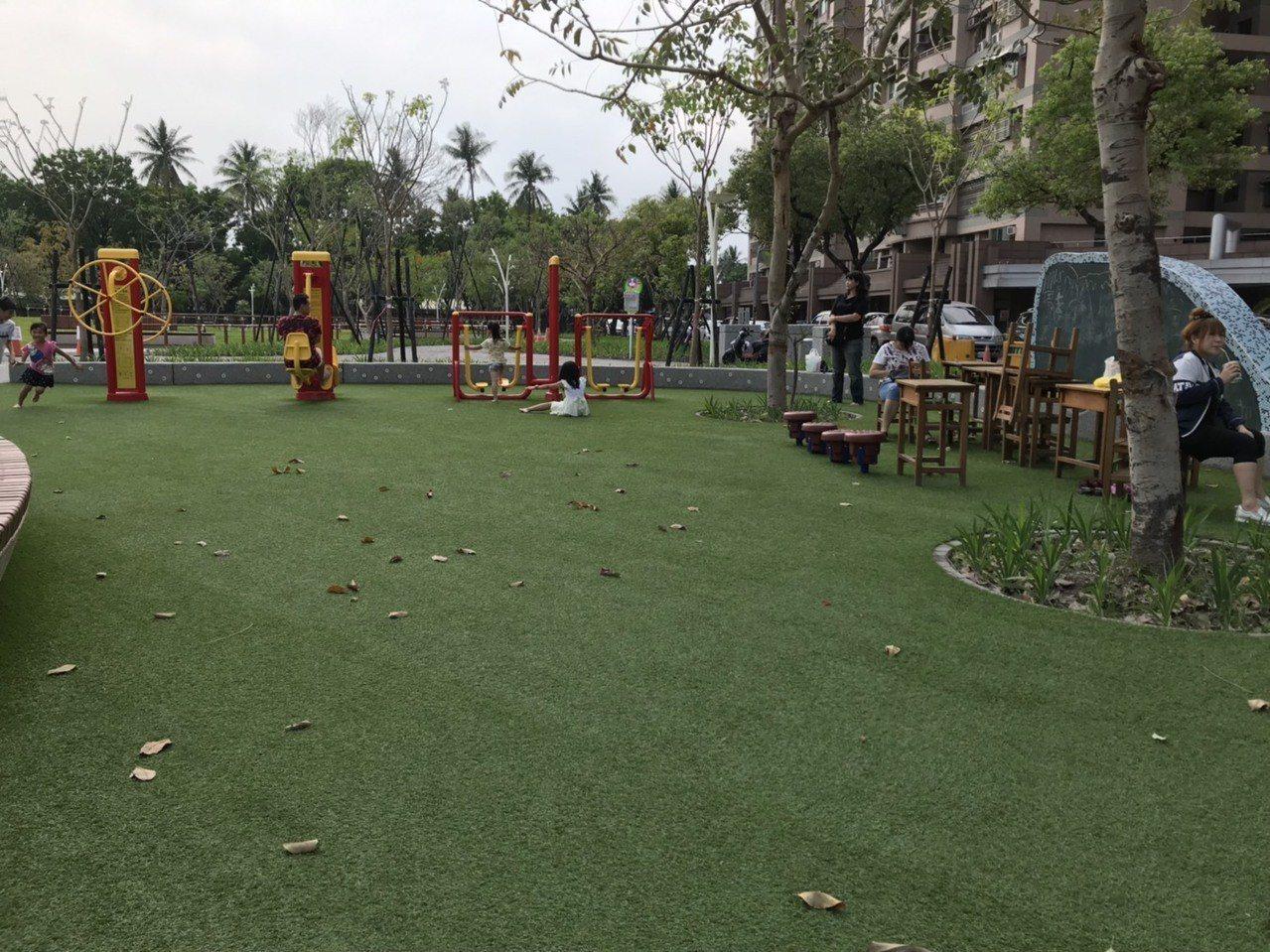 園區內還有設置pu草皮空間。圖/讀者mina授權提供