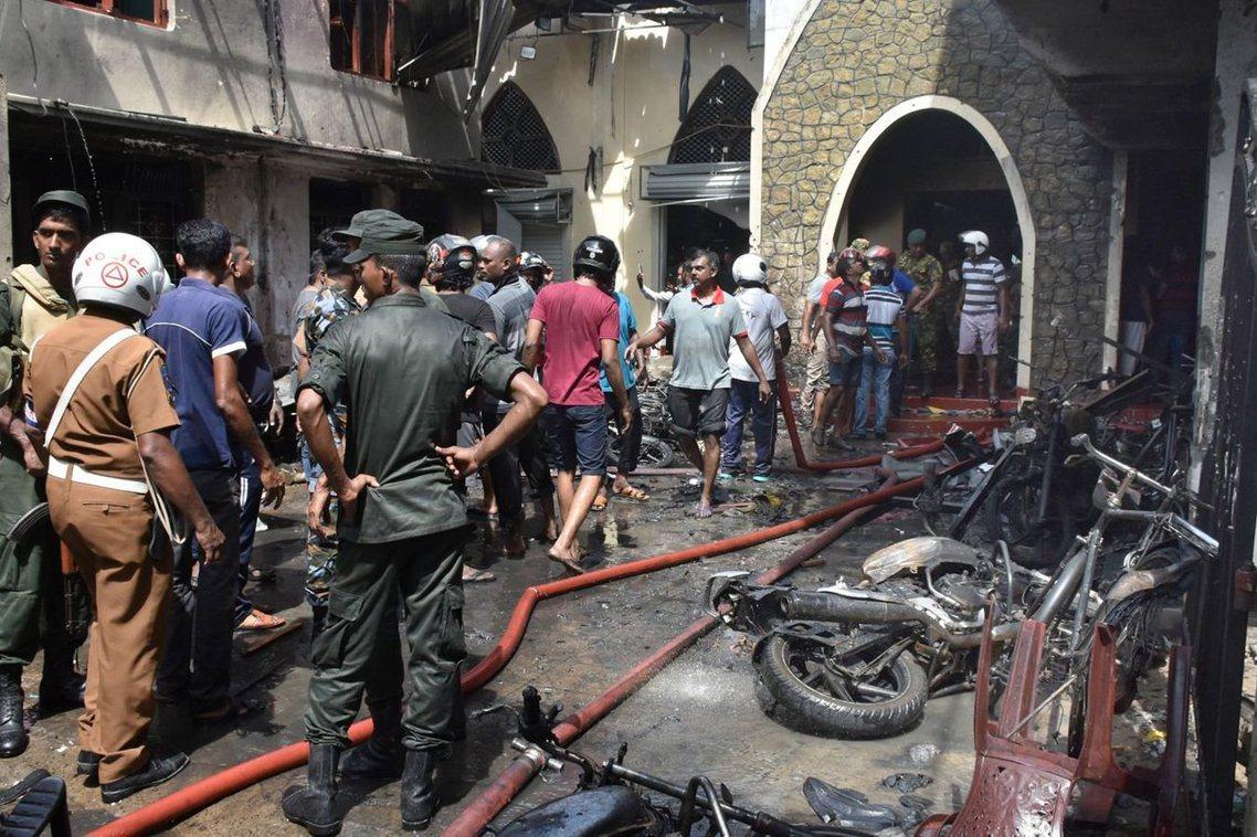 錫安教堂爆炸後的混亂現場。 圖/歐新社