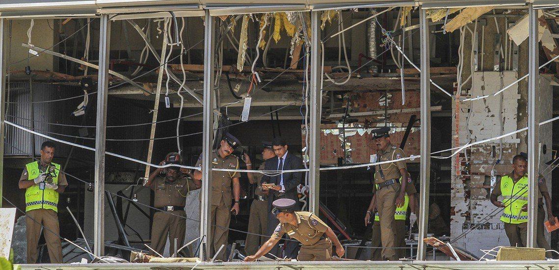 可倫坡香格里拉大飯店(Shangri-La Colombo)遭受爆炸攻擊。 圖/...