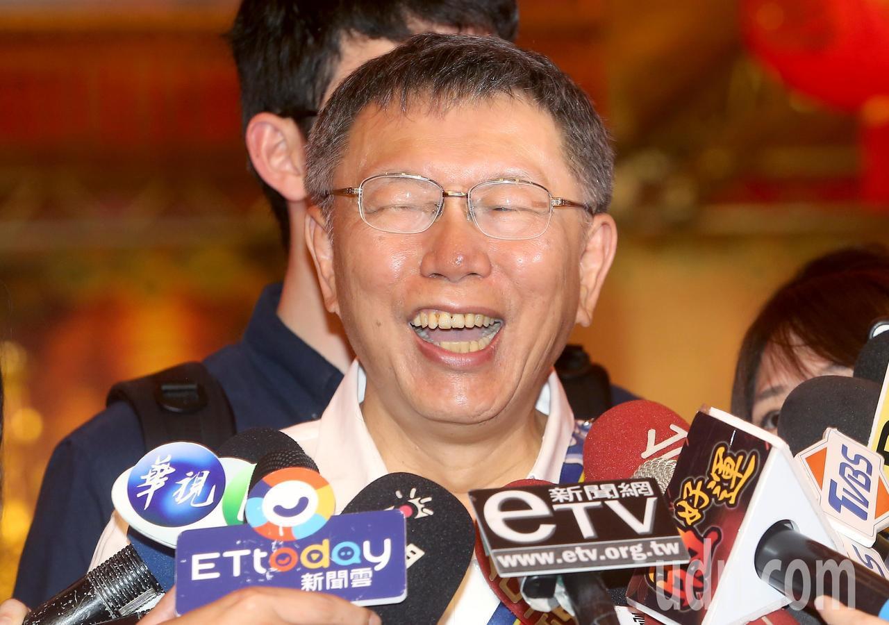 台北市長柯文哲出席大甲媽祖北巡駐駕祈福法會,受訪時表示「秦失其鹿,天下共逐之」,...