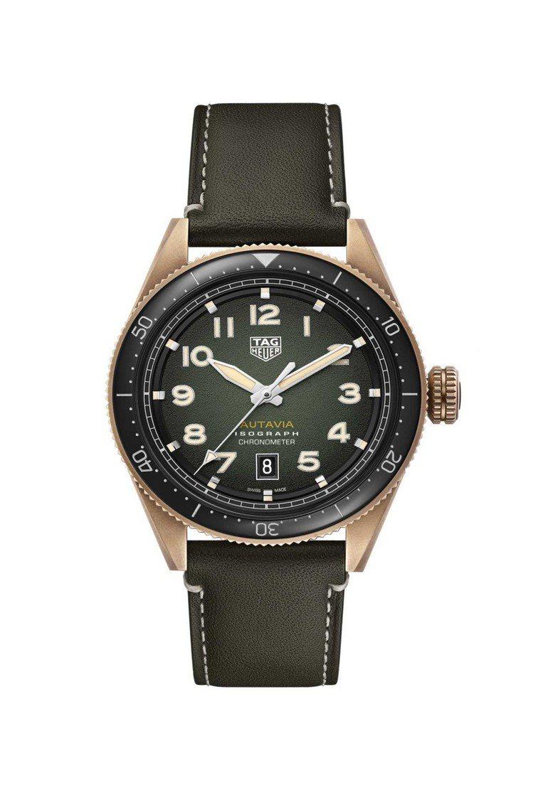 泰格豪雅Autavia系列腕表,青銅表殼搭配黑色陶瓷表圈,具38小時動力儲存,約...