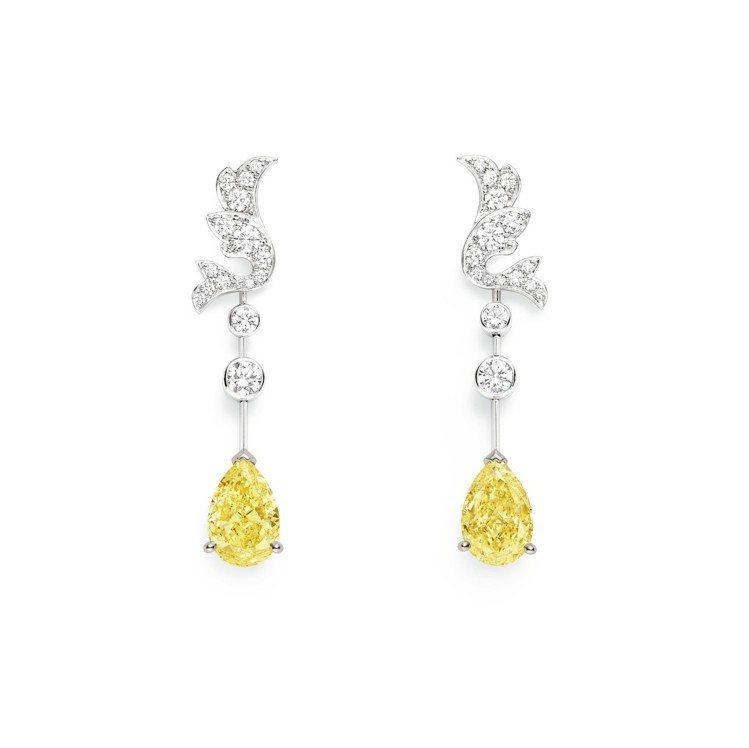 Soir de Fete系列18K白金雞尾酒耳環,鑲嵌兩顆各2克拉梨型切割黃鑽,...