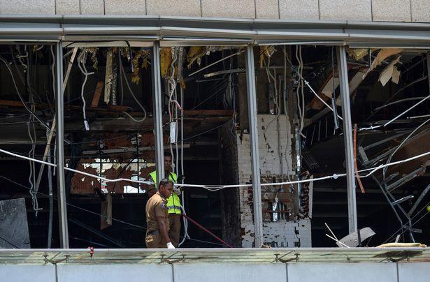 斯里蘭卡21日已發生7起爆炸事件,圖為當天早上一處爆炸案現場。 (法新社)