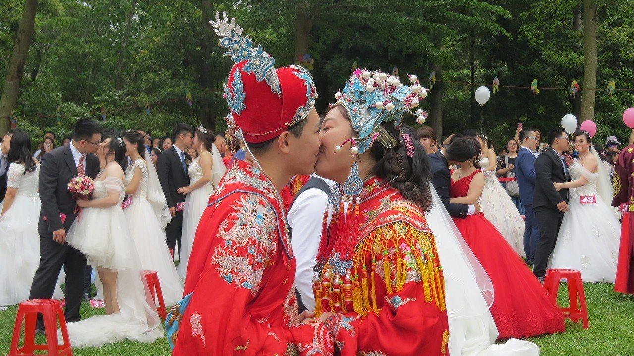 苗栗縣西湖渡假村今天桐花婚禮,新人浪漫互許一生。記者范榮達/攝影
