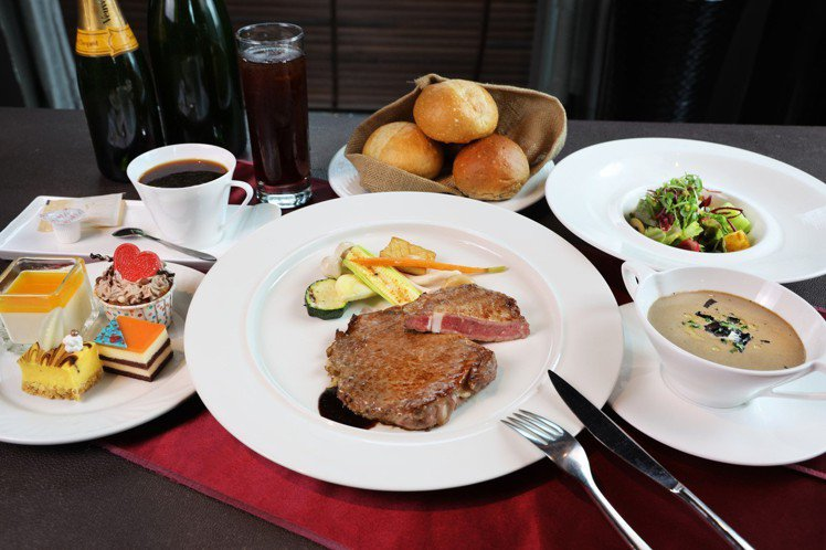 台中金典酒店歡慶20周年,推出精選牛排套餐550元。圖/台中金典酒店提供