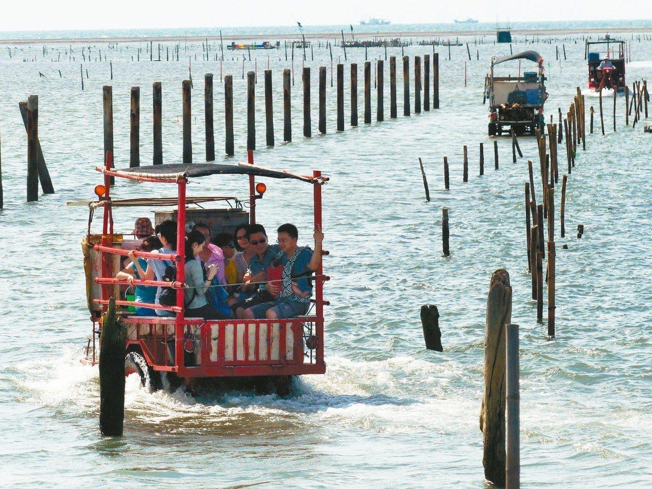 王功漁港最重要的景點就是蚵棚,假日常有遊客搭鐵牛車體驗採蚵。 圖/聯合報系資料照...