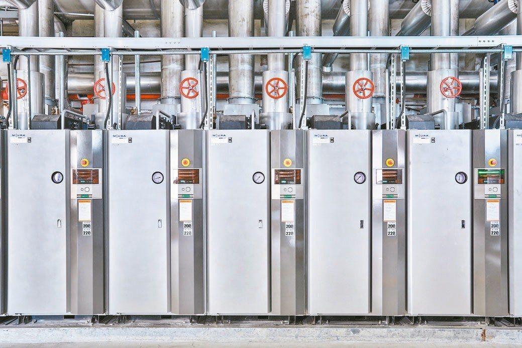 MIURA燃瓦斯貫流鍋爐為業界最高98%燃燒效率,可為廠房帶來潔淨空間。 三浦工...