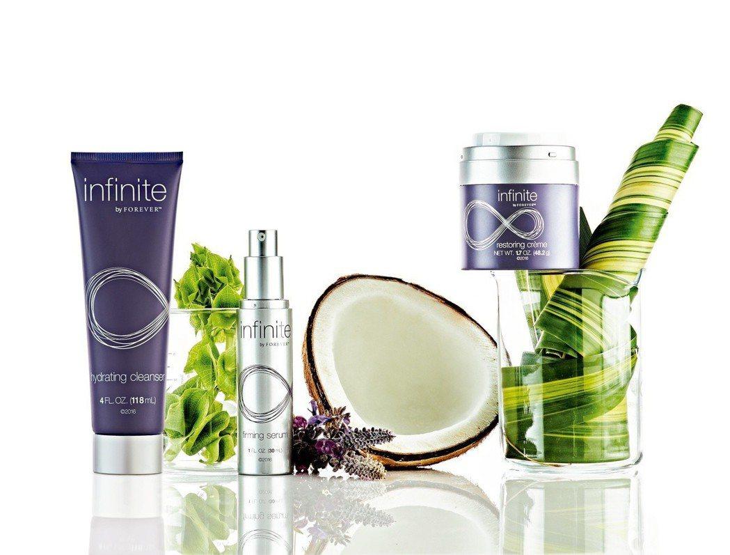 infinite美麗無限緊緻活膚組一次滿足您肌膚抗老保養的所有程序需求。永久產品...