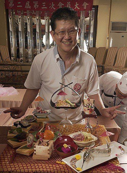 第一屆台灣和食料理金賞展,展出「吹春風」的菜。 中華日式料理發展協會/提供