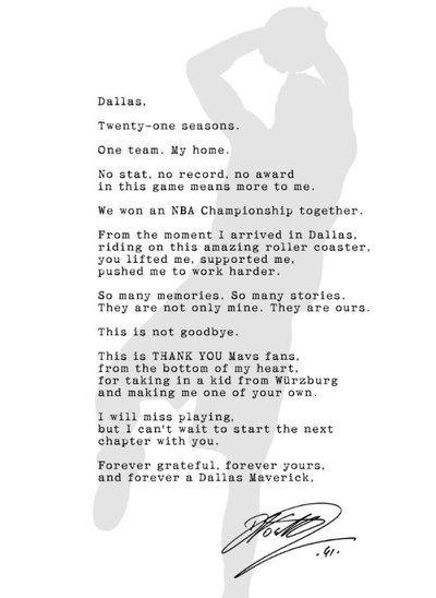 諾威茨基登報感謝球迷21年來的支持。 截圖自達拉斯星辰報推特