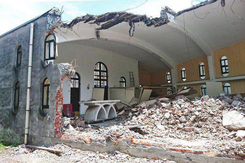 2018年11月突遭拆除的礁溪天主堂。 圖/聯合報系資料照