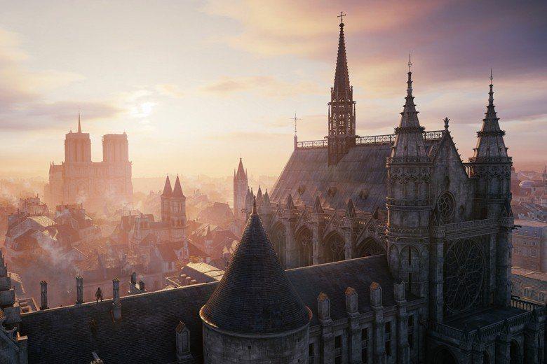 電玩遊戲《刺客教條:大革命》曾花2年對聖母院進行考察並作3D數位掃描。圖為遊戲畫...