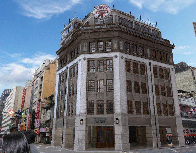 1932年開幕的菊元百貨3D數位復原模型與實際街景。 圖/文化部臺灣數位模型庫