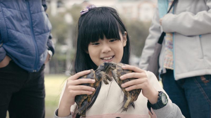 《烏龜女孩》唐唐在爸媽爭吵的時候,會戴起耳機躲在自己的龜殼裡,進而爸媽吵架的壓力...