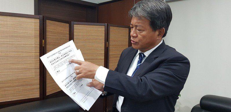 台南市議會議長郭信良拿著市府捷運說明會的問卷調查,表示太過草率。記者修瑞瑩/攝影