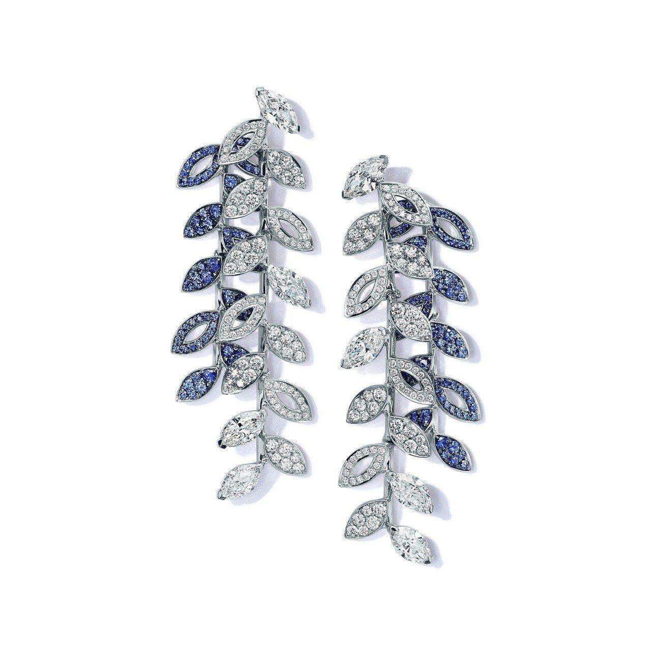 Tiffany鉑金鑲嵌混合式切割藍寶石與鑽石蕨葉造型耳環,價格店洽。圖/Tiff...