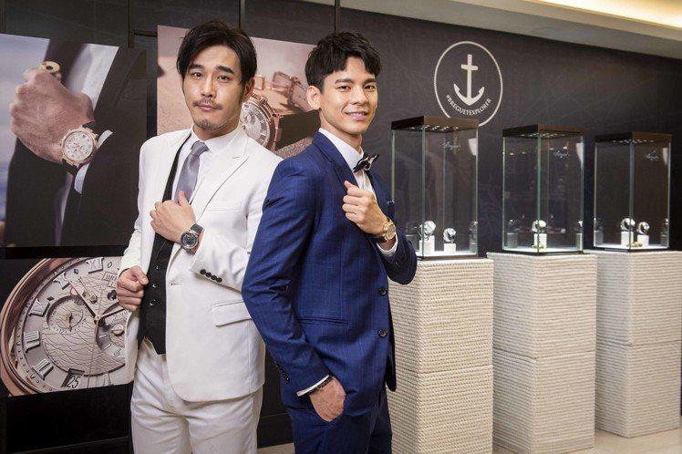 男星黃騰浩(左)與林柏宏為了寶璣表台中形象店開幕,特地到場支持。圖/Bregue...