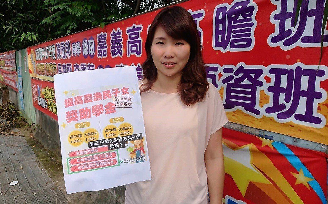 嘉義縣議員詹琬蓁質疑,政府宣布「農漁子女獎助學金」增加3成,但高中職學生都無法請...