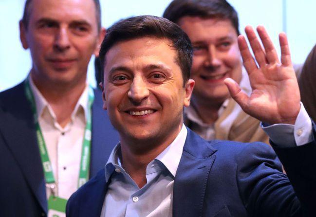 烏克蘭喜劇演員澤倫斯基當選總統。歐新社
