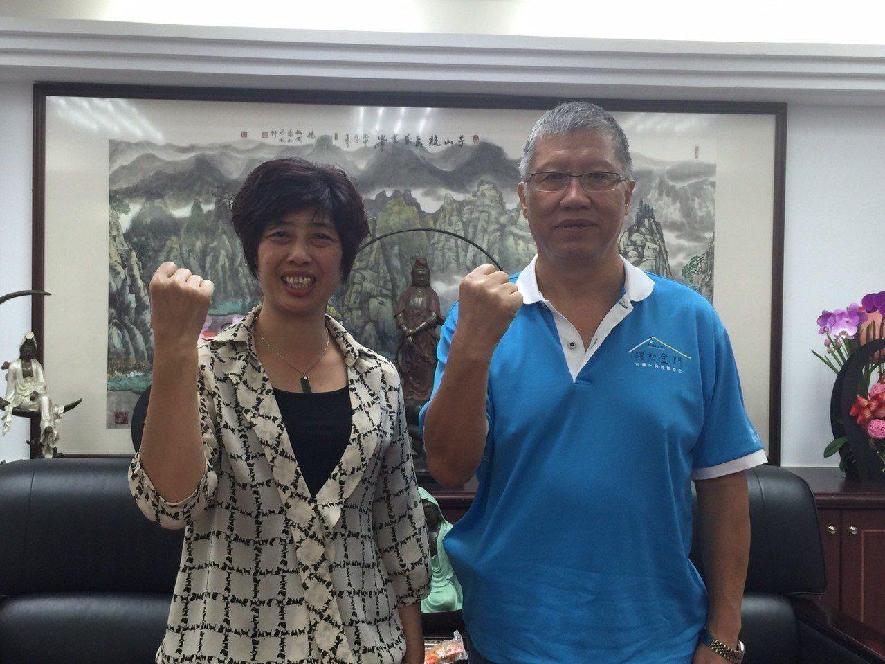 國民黨金門縣黨部主委林芳旋(右)今天表示,韓國瑜的「民調」跟「民意」看來都是最高...