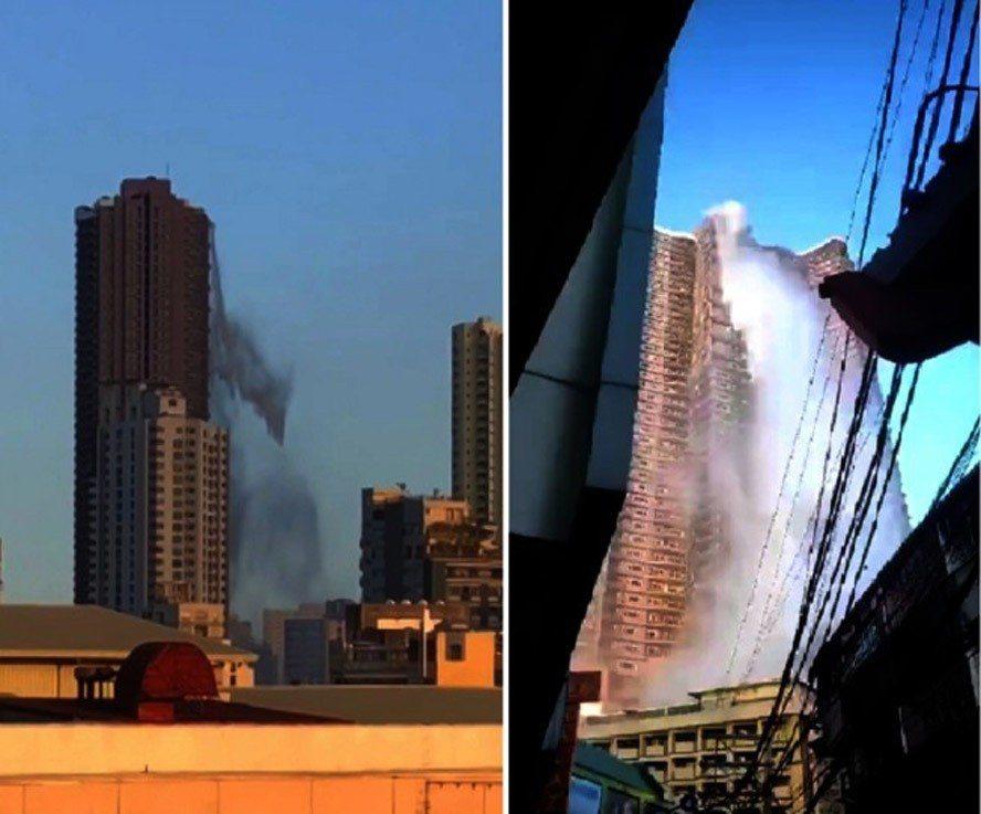 菲律賓呂宋島22日發生規模6.1強震,首都馬尼拉一棟大廈頂樓的游泳池,池水因劇烈...