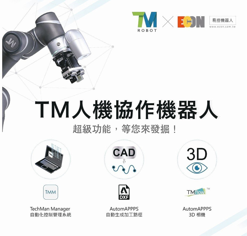 TM系列人機協作機器人獲工業界採用。 易控機器人/提供