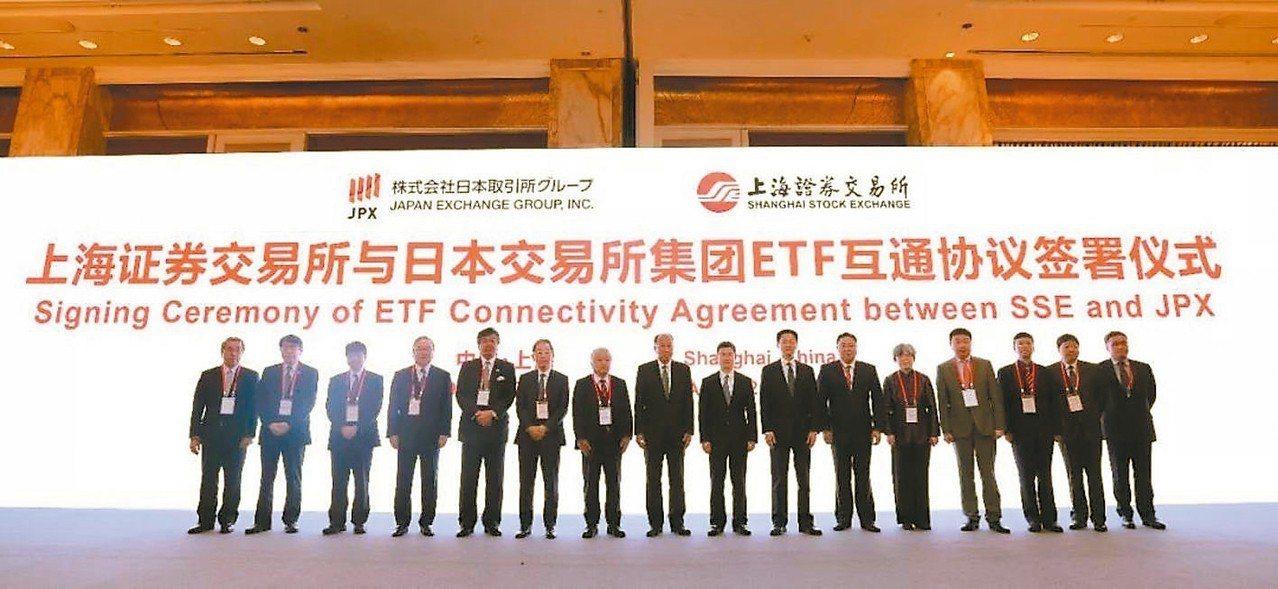 中日資本市場論壇22日在上海召開,上海證券交易所於會中與日本交易所集團簽署雙邊E...