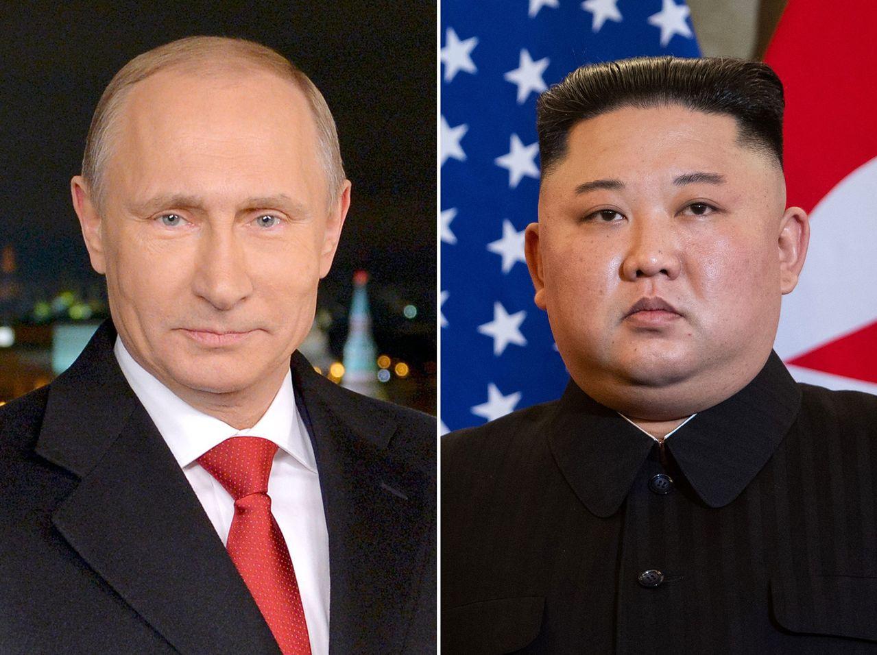 北韓領導人金正恩(右)本週將在俄羅斯接受總統普亭(左)盛宴款待。 法新社
